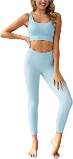 QCHENG Women's Workout Sets 2 Piece Ribbed Seamless Sports Bra and Leggings Set Gym Clothes Yoga Outfits