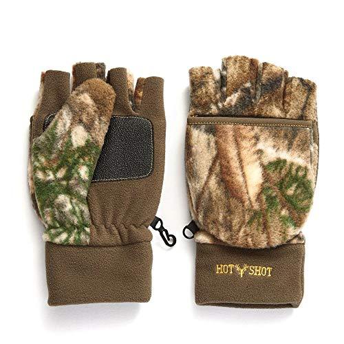 HOT SHOT Men's Camo Bulls-Eye Fleece Pop-Top Mittens – Realtree Edge Outdoor Hunting Camouflage