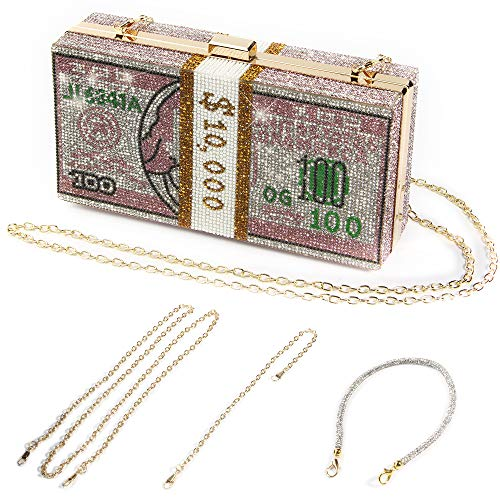 Money Clutch Purses for Women, Stack of Cash Dollars Crystal Clutch Purses, Women Diamond Evening Bags Party Cocktail Rhinestone Handbags, Wedding Dinner Bag, Gold