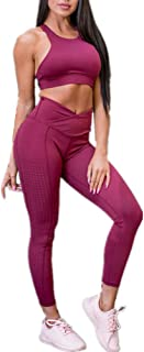 Conjunto Ropa Deportiva Mujer, Deportivos Entrenamiento Fitness Yoga Top y Pantalones Leggings Raya Lateral Set Chandal Estampada Running Pilates
