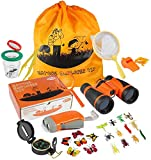 ThinkMax kit Explorateur Enfant 27 pcs, Ensemble Jumelles avec Lampe de Poche, Boussole, loupe, Filet à Papillons et Sac à Dos