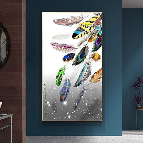YQLKC Pinturas de Arte en Lienzo Impresiones de Arte Abstracto Moderno Cuadros de Arte de Pared de Plumas de Moda para la decoración del hogar de la Sala de Estar 11.8'x23.6 (30x60cm) Sin Marco