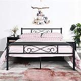 EGOONM Cadre de lit en métal - 4ft 6 Cadre de lit en métal avec Les Nuages Motif, avec Grand Espace de Rangement et pour Enfants ou Adultes,Noir (140 X 190)