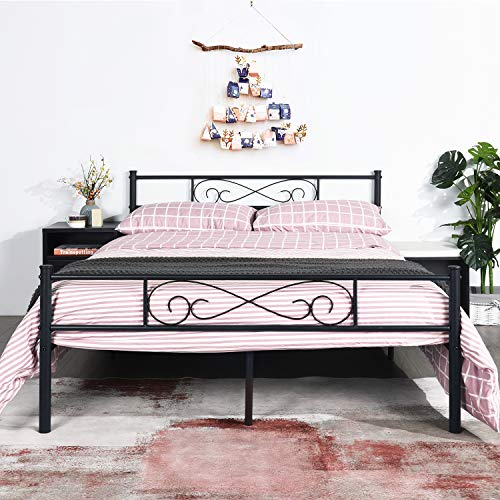 EGOONM Double Bed Frame -4ft 6 Double Metal Bed Frame with Cloud bed frame, with Large Storage Spaceand For Adults/Fit 140 * 190 cm Mattress,Black