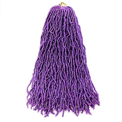 24 Inch New Soft Locs Crochet Braids Hair 6 Bundles Faux Locs Crochet Hair Synthetic Natural Wavy Goddess Locs Crochet Extensions Hair Twist Braids(24'/PUEPLE/6packs)