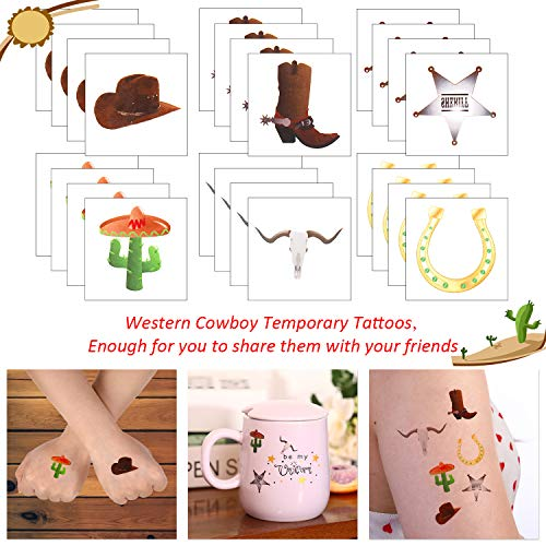 144 Pieces Western Cowboy Temporary Tattoos Western Elemental Stickers with Flannelette Bag Cowboy Party Accessories for Adult Children 2