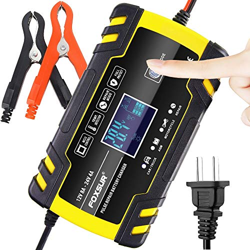 IEIK Car Battery Charger Maintainer 12V 8Amp 24V 4Amp Automotive Smart Battery Charger for Car, Truck, Boat, Motorcycle, Lawn Mower, Truck, SUV, RV, ATV and More (Yellow)