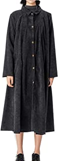 Minbee Women's Corduroy Pleated Jacket New Cotton Long Blouse Full Front Buttons Dress Outfit