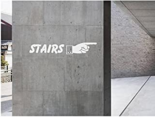 StickerLoaf Brand STAIRS Pointing Finger Stairwell SIGN WINDOW WALL DECAL BUSINESS SHOP Storefront VINYL DOOR SIGN COMPANY lawyer medical office florist sandwich cafe deli diner gym grocery bar grill tavern pub bbq salon boutique studio