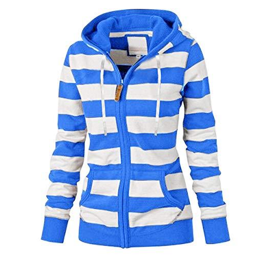 Women's Plus Size Hooded Long Sleeve Striped Sweatshirt Ladies Casual Zipper Tops Hoodie Blue
