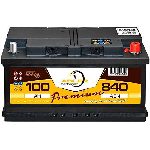 PKW Batterie 12V 100Ah 840A Adler Premium Autobatterie statt 80 85 90 92 95 Ah