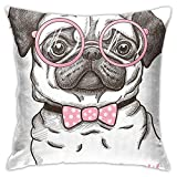 GULTMEE Decorative Printing Pillow case,Cute Pet Dog with Pink Bow Tie Oversized Glasses Hand Drawn Domesticated,Square Cushion Covers for Home Sofa Couch 18x18 Inch