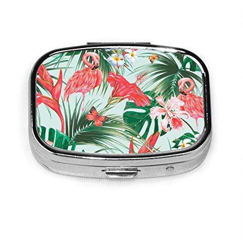 Caja de pastillero cuadrado con diseño de animales tropicales florales, flora y fauna silvestre y flamencos vintage