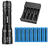 Tokeyla LED Flashlight with 8PCS 3.7V 5000mAh 18650 Rechargeable Battery and Universal 4 Bay Battery Charger, AAA or 18650 Battery Supported, 2000 Lumens 5 Modes Flashlight for Camping Hiking (Black)