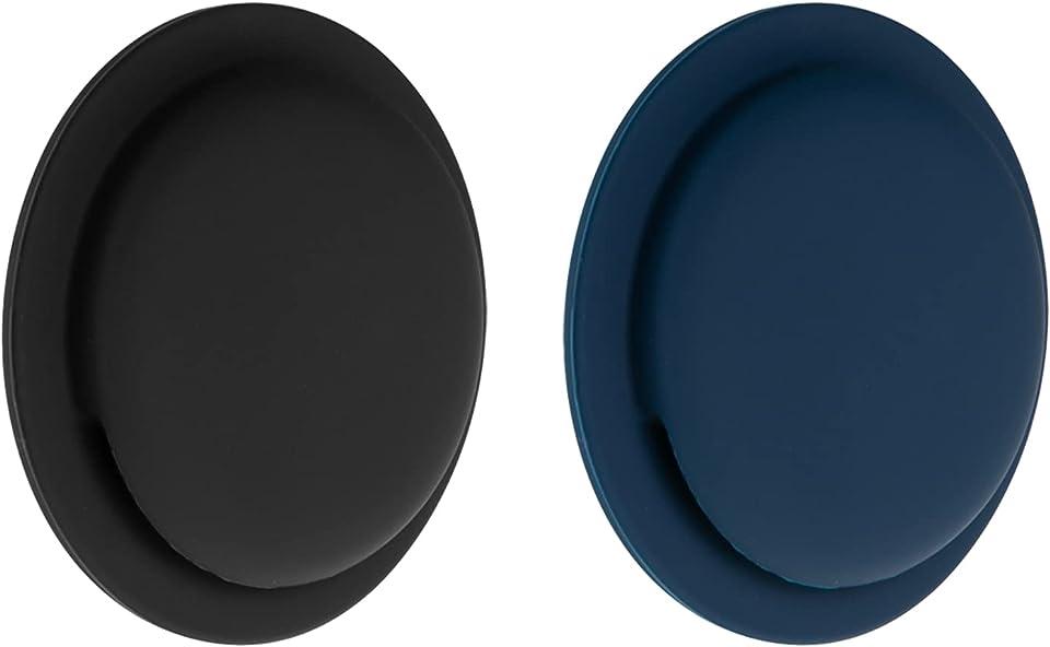 NEWZEROL 2 Stück Silikonschutzhülle Kompatibel für AirTag, Spurlosen, Selbstklebenden Anti-Kratz Schutzhüllen Leichte, Stoßdämpfende Ultraflache (Sanfte Berührung) - Schwarz/Blau