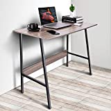 Viewee Laptop Study Table 39' Computer Writing Desk, Home Office Desk with Wood Block Support, Trapezoidal Structure Modern Student Desk, Brown (Gift: Table Edge Protectors)