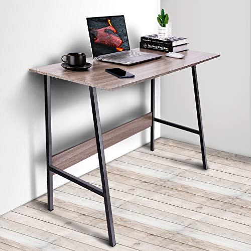 "Viewee Laptop Study Table 39"" Computer Writing Desk, Home Office Desk with Wood Block Support, Trapezoidal Structure Modern Student Desk, Brown (Gift: Table Edge Protectors)"