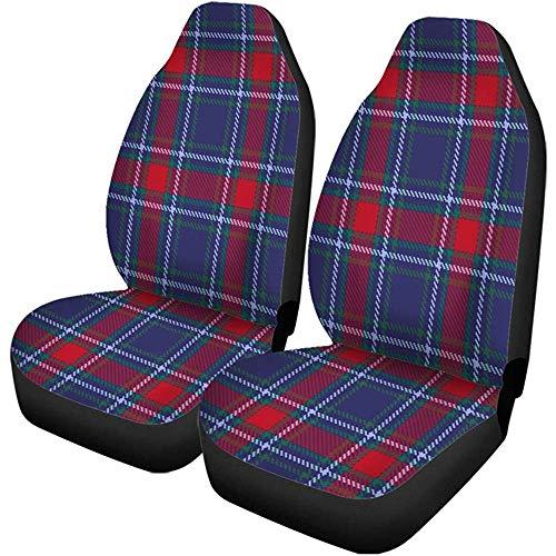 Beth-D autostoelhoezen, motief Schotse ruiten, plaid, kleurrijk, abstract, zwart, Brits, set van 2