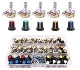 Potenciómetro Kit Lineal Cónico Rotativo B5K B10K B20K B50K B100K B250K Ohm 3 Terminales B-Tipo Estéreo Audio Potenciómetro con Perilla(22Pcs)