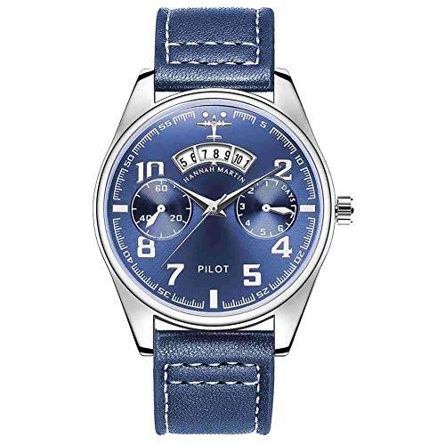 QZPM Reloj De Piloto con Correa De Cuero Calendario Reloj Aviación Casual De Negocios Reloj Hombres,Ll