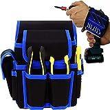 Biluer 1PCS Cintura Porta Attrezzi Borsa Porta Attrezzi And 1PCS Bracciale Magnetico Polsiera Magnetica Adatto per Elettricisti Falegnami Tecnici Della Manutenzione Di Auto