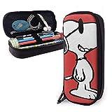 Estuche de lápices con diseño de gafas de Snoopy sobre fondo rojo, doble cremallera de poliuretano, gran capacidad