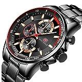 Mini Focus Reloj Hombre, Relojes Deportivos de Negocios de Acero Inoxidable para Hombres Reloj Impermeable Reloj de Pulsera de Cuarzo Luminoso con Caja para Regalo de Esposo (Black)