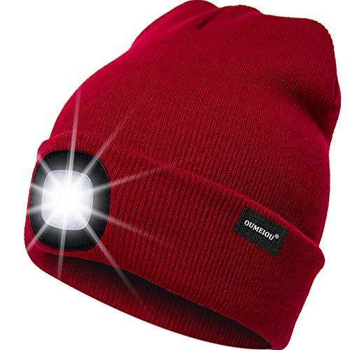 OMOUP 4 LED Stirnlampe Beanie Mütze, Winter warme Beanie Hut Hände frei beleuchtete Beanie Mütze mit (Rot)