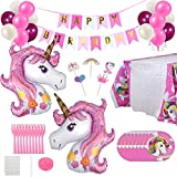 Unicornio Fiesta Decoración Cumpleaños Supplies, Infantil Globos Platos Mantel Tenedores Cupcake Toppers Cumpleaños Artículos Suministro para Niña Niño