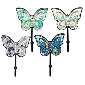 Sulida Butterfly Design Wall Hook - Vintage Hook for Hangers, Hats, Scarves and Keys, 4PCS (# Deep Sea)