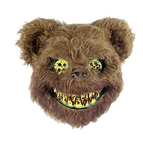 TERROR PARTY Halloween Máscara de Conejo de Cosplay de Miedo para Adultos Accesorios de decoración de Fiesta Máscara de Fiesta Espeluznante Máscara de látex de Máscara de Mascarada,Bear,Bear