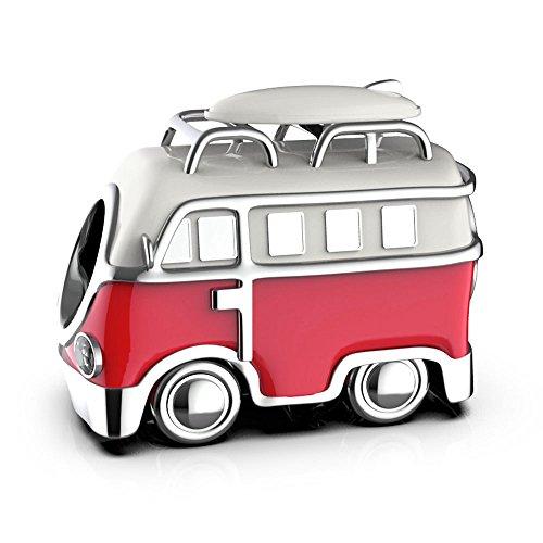 VW Camper - Sterling Silber S925 für Damen Pandora Charm Armband in einer Geschenkbox - rot & weiß