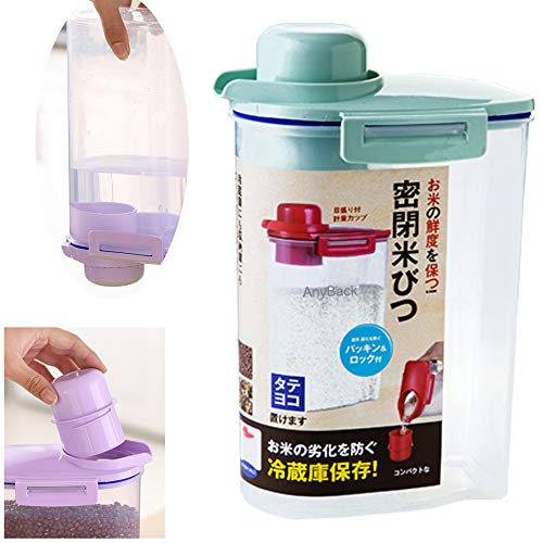 Contenedores de cereales de arroz a granel, dispensador de alimentos con tapa, organizador, 1 sellado con taza de medición hermética como tapa atornillable en cualquier parte posterior, color verde
