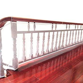 DECARETA Filet de Protection pour Escalier et Balcon, 77cm*300cm Filet de Sécurité pour Enfants et Bébé avec 2 Sortes de Cordes Filet de Rail de Sécurité pour Intérieur Extérieur (Blanc)