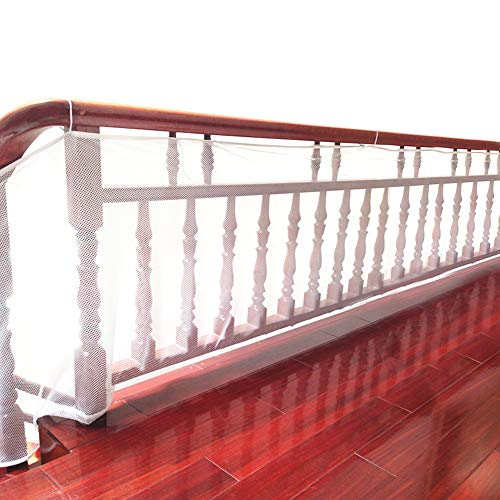 DECARETA Sicherheitsnetz für Haustier, Mann, Frau, Balkon, Treppe, wetterfest, wasserdicht, verstellbar, für für Balkon und Treppengeländer, Weiß