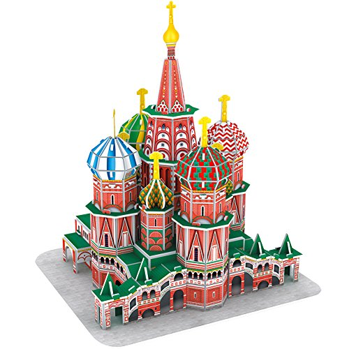 CubicFun 3D Puzzles for Kids Architecture Model Kit St. Basil's Cathedral Russia Papercraft Jigsaw Puzzle for Kids Russia Souvenir for Adults and Kids, 92 Pieces