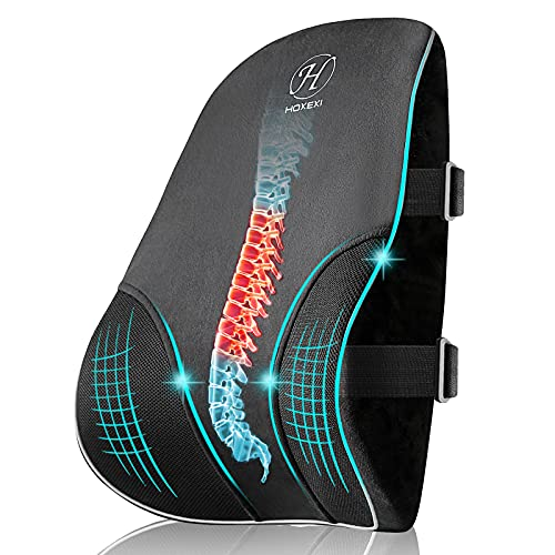 Lumbar Support Pillow,Memory Foam Back Support Pillows with Breathable Mesh Cover,Office Chair Cushion That relieves Back and Cervical Pain,Suitable for Office Chair,Car Seat,Gaming Chair,Wheelchair