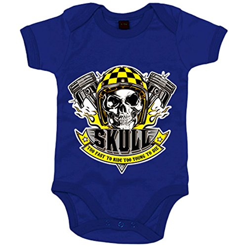 Body bebé motero Skull Too Fast To Ride Too Young To Die - Azul Royal, 12-18 meses