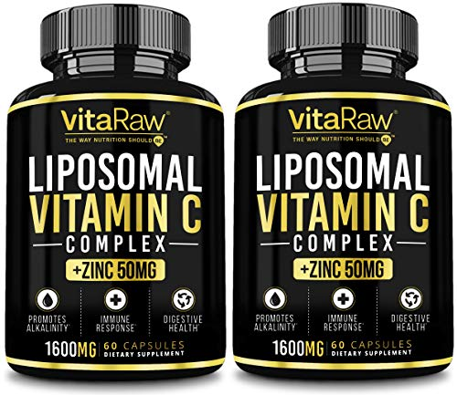 Liposomal Vitamin C Supplement [2 Pack] 1600mg with Zinc 50mg |Highest Absorption| Vitamin C Liposomal Immune Support Complex - Vitamin C Capsules & Zinc Vitamins for Adults | VIT C Immune Booster