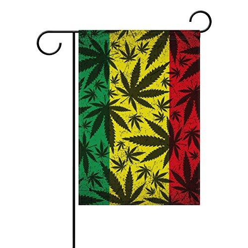 COOSUN Cannabis Blatt auf Rastafari Flagge Polyester Garten-Flagge im Flagge Home Party Garten Decor, doppelseitig, 30,5x 45,7cm (30,48x 45,72cm), Polyester, mehrfarbig, 12x18(in)
