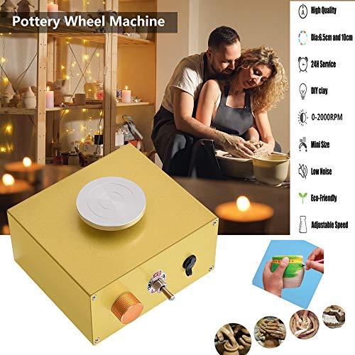 S SMAUTOP Mini elektrische Töpferscheibe, 2000 U/min Keramikmaschine, mit 6,5 cm und 10 cm Plattenspieler DIY Clay Tool für Kunsthandwerk, Keramik Arbeit (30W)