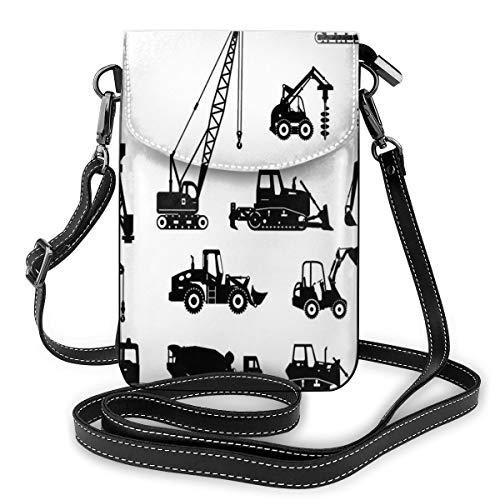 Women Mini Purse Crossbody of Cell Phone,Black Silhouettes Concrete Mixer Machines Industrial Set Trucks Tractors