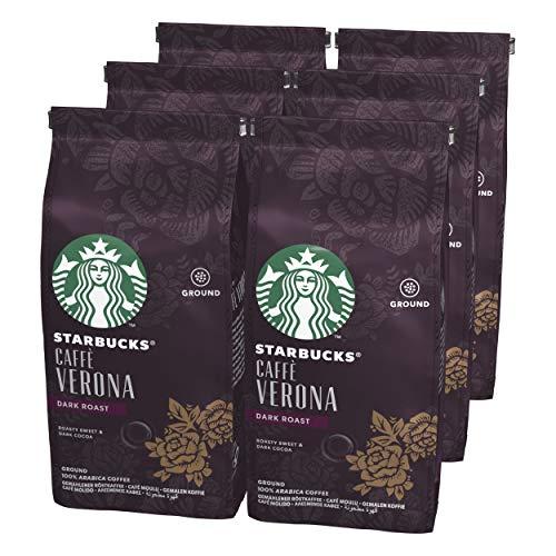 Starbucks CAFFÈ VERONA Dark Roast Filterkaffee, Röstkaffee gemahlen, Dunkle Röstung, (6 x 200g)