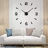 YIQI Reloj de Pared Europeo Creativo hogar diy3D Reloj Decorativo Tridimensional Espejo Digital acrílico Etiqueta de la Pared Reloj de Pared (Estilo 1 Negro)