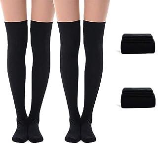 Tukistore, Tukistore 2 Pares de Calcetines de algodón para Mujer, Estilo Retro, Largos, Calcetines Largos Schwarz + Schwarz