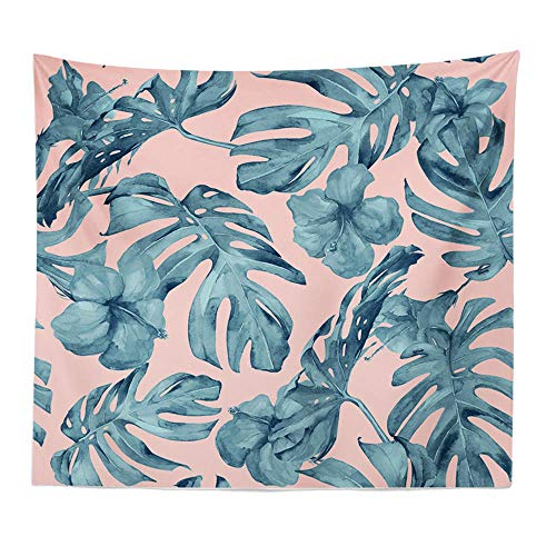 YIBINGLI Tapisserie Pink Nordic Style Tapisserie Tropical Green Pflanzenblätter Bedruckte Wandtuch Tapisserie Bohemia Beach Throw Handtuch Yoga Mat Crapet150x200cm