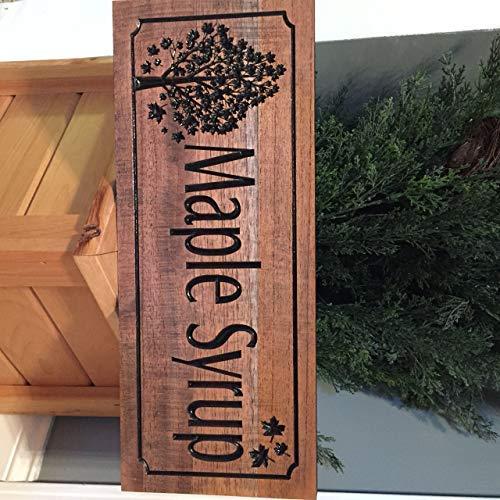 Har3646vey Ahornsirup Sugar Shack Schild Outdoor Schild Ahornbaum und Ahornblatt Reiner Sirup bedrucktes Holzschild Holzschild Holz Ahornsaft Zuckerhaus, 100 Ahornsirup