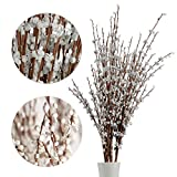 5Pcs 75CM Long Artificial Flower Winter Jasmine Folk Pip Berry Plant Dry Branches for Wedding Home Office Party Hotel Table Vase Christmas Decor - White