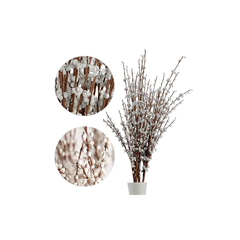 silk flower arrangements 10pcs 75cm long artificial flower winter jasmine folk pip berry plant dry branches for wedding home office party hotel table vase christmas decor - white