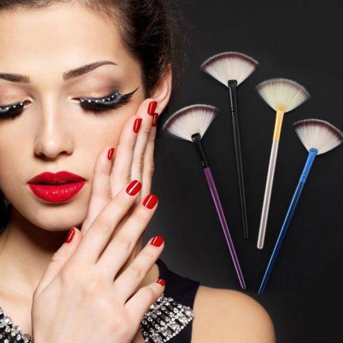 KCT Herramienta cosmética del polvo de la cara del resaltador del maquillaje de la forma del ventilador
